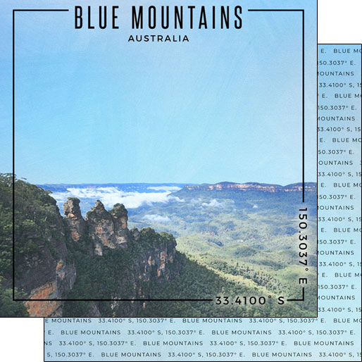 Blue Mountains 12x12 Double Sided Scrapbooking Paper