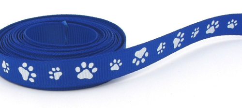 Paw Prints Scrapbooking Ribbon - Blue