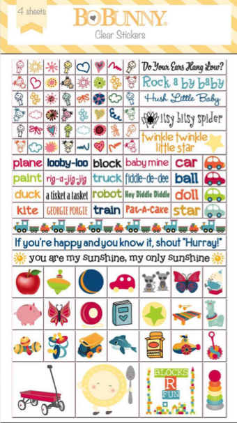 Play Time Clear Scrapbooking Stickers - 4 Sheets