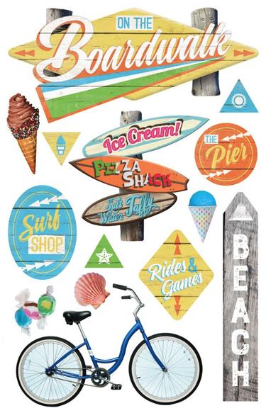 Boardwalk 3D Glitter Scrapbooking Stickers
