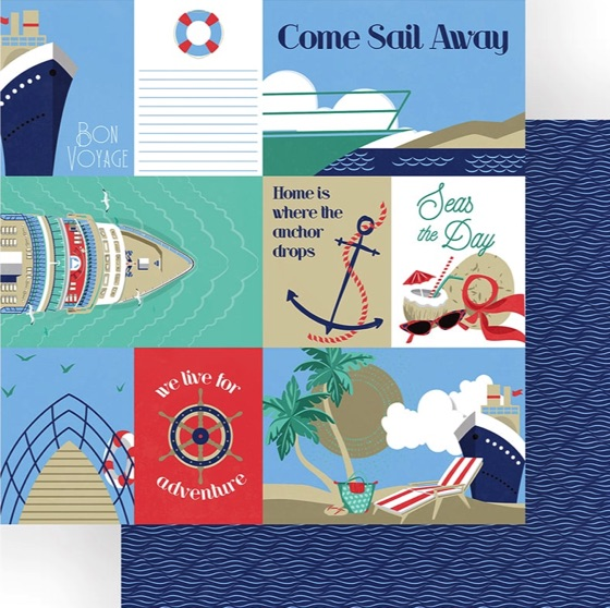 Bon Voyage Double Sided 12x12 Scrapbooking Paper