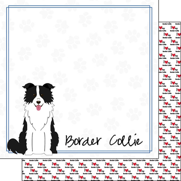 Border Collie 12x12 Double Sided Scrapbooking Paper