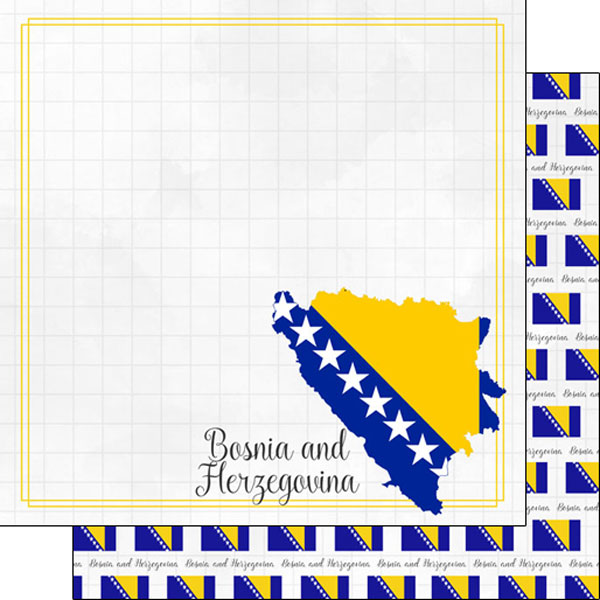 Bosnia and Herzegovina 12x12 Double Sided Scrapbooking Paper