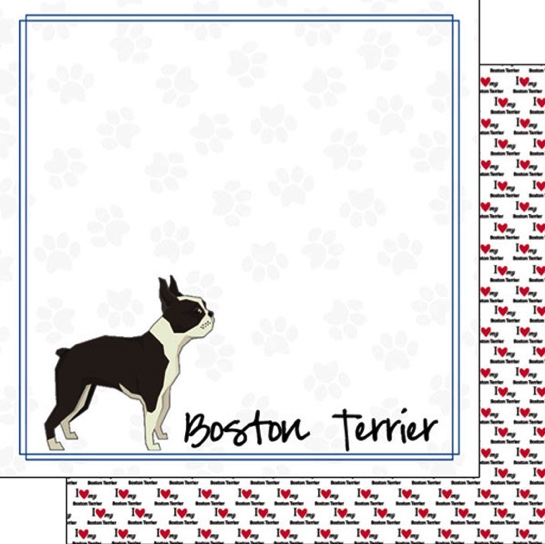 Boston Terrier 12x12 Double Sided Scrapbooking Paper