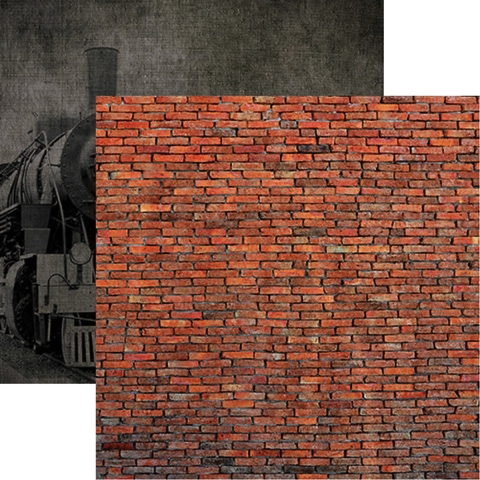 Brick Wall and Train Double Sided 12x12 Scrapbooking Paper