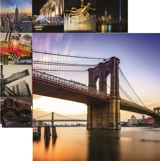 New York Brooklyn Bridge Double Sided 12x12 Scrapbooking Paper