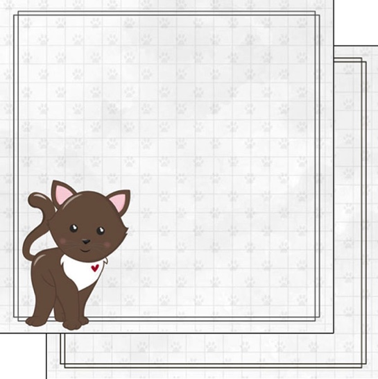 Brown Cat 12x12 Double Sided Scrapbooking Paper