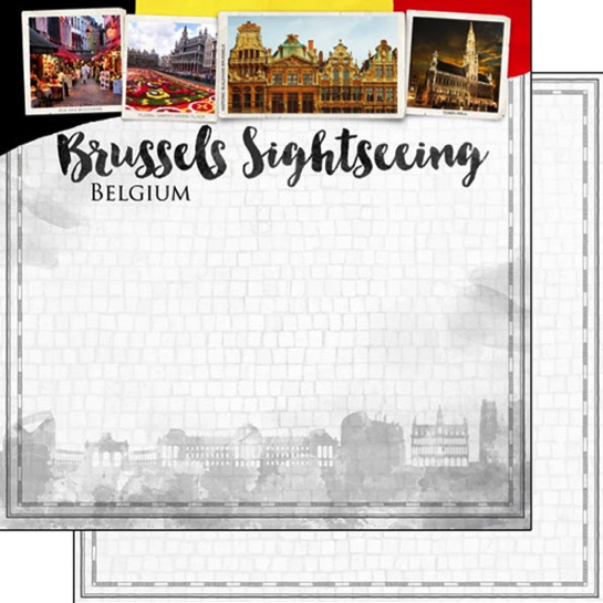 Brussels Sightseeing 12x12 Double Sided Scrapbooking Paper