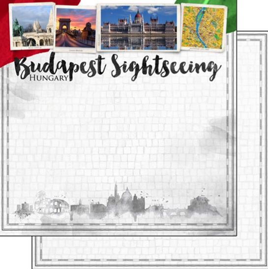 Budapest Sightseeing 12x12 Double Sided Scrapbooking Paper