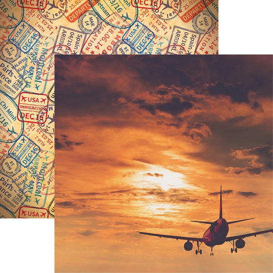 By Plane Double Sided 12x12 Scrapbooking Paper