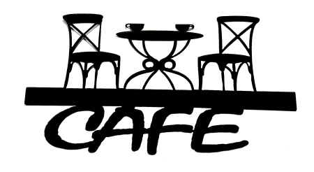 Cafe Scrapbooking Laser Cut Title with Table and Chairs