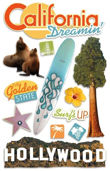 California 3D Glitter Scrapbooking Stickers