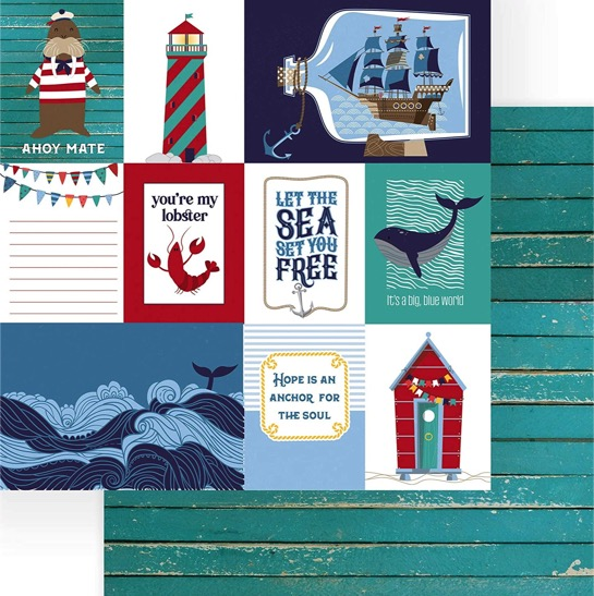 Monterey Bay Set Sail Double Sided 12x12 Scrapbooking Paper