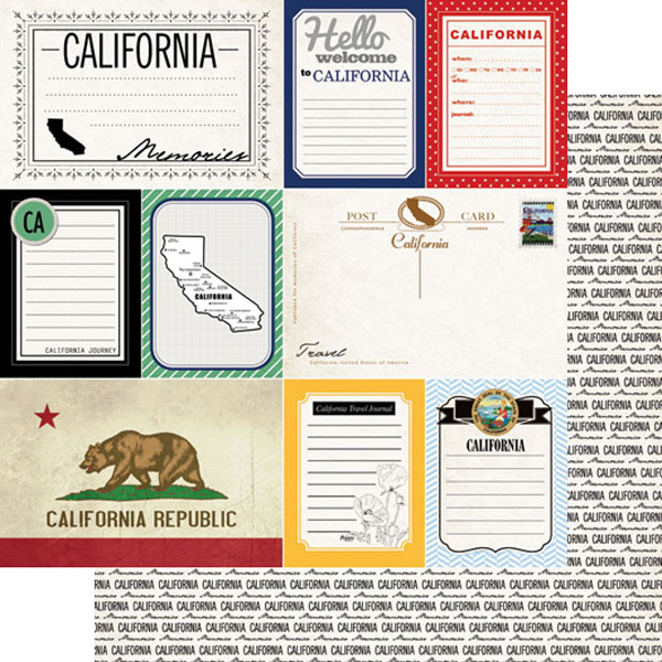 California Journal 12x12 Double Sided Scrapbooking Paper
