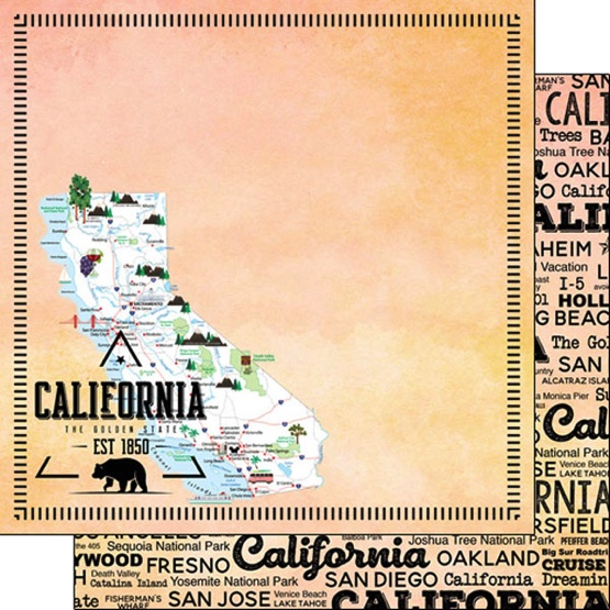 California Postage Map 12x12 Double Sided Scrapbooking Paper
