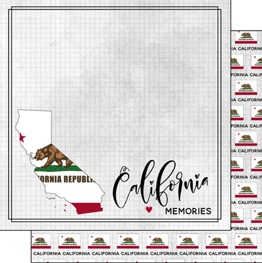 California 12x12 Double Sided Scrapbooking Paper
