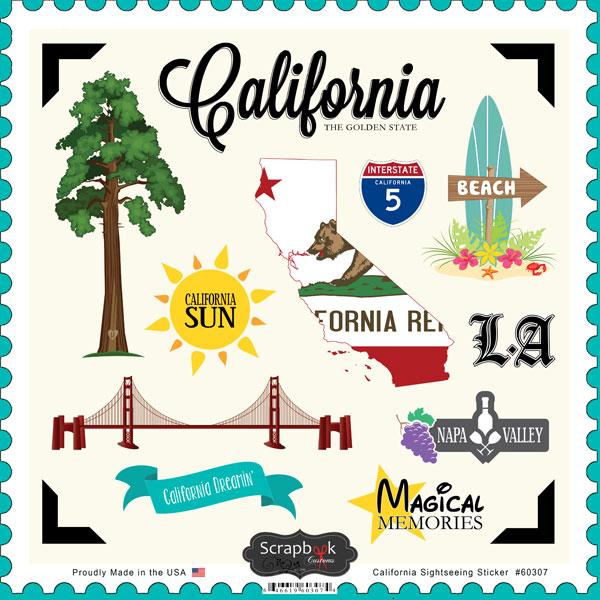 California Sightseeing 12x12 Scrapbooking Stickers