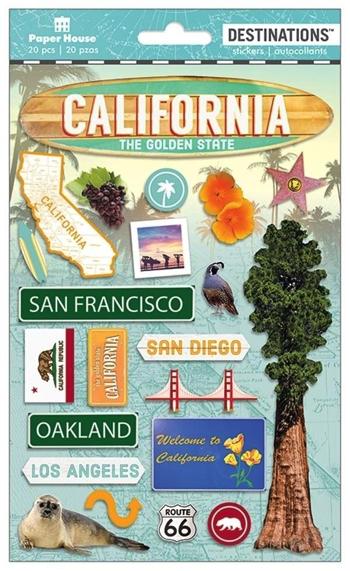 California 3D Destinations Scrapbooking Stickers
