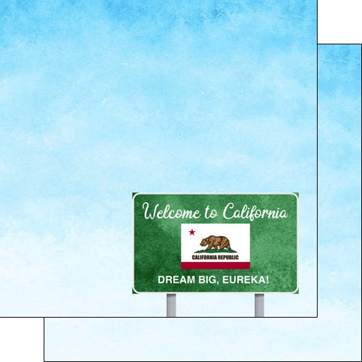 California Welcome 12x12 Double Sided Scrapbooking Paper