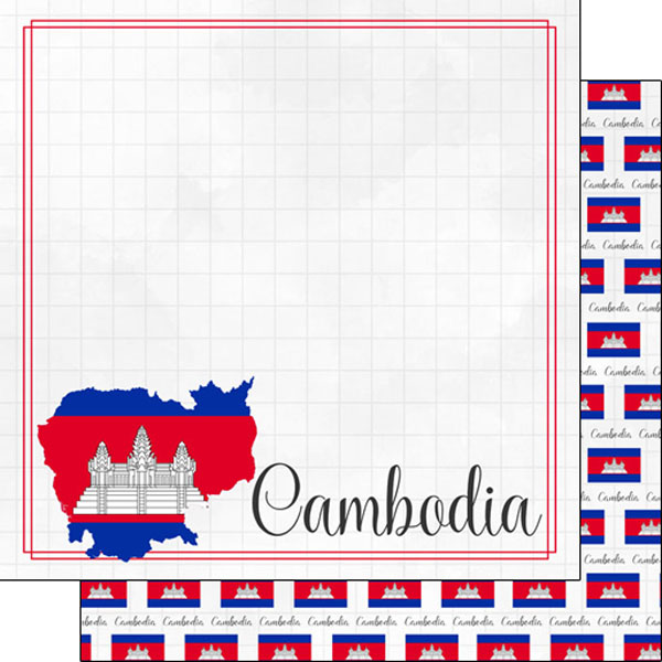 Cambodia 12x12 Double Sided Scrapbooking Paper