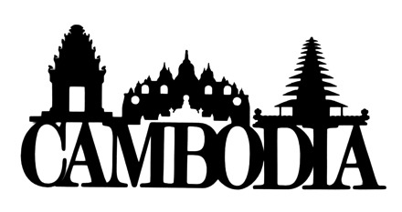 Cambodia Scrapbooking Laser Cut Title with Skyline
