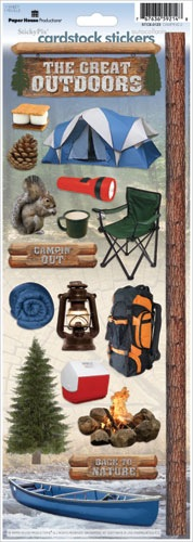 Great Outdoors Camping Cardstock Scrapbooking Stickers