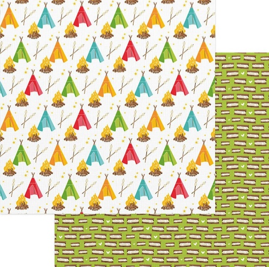 Camping Double Sided 12x12 Scrapbooking Paper