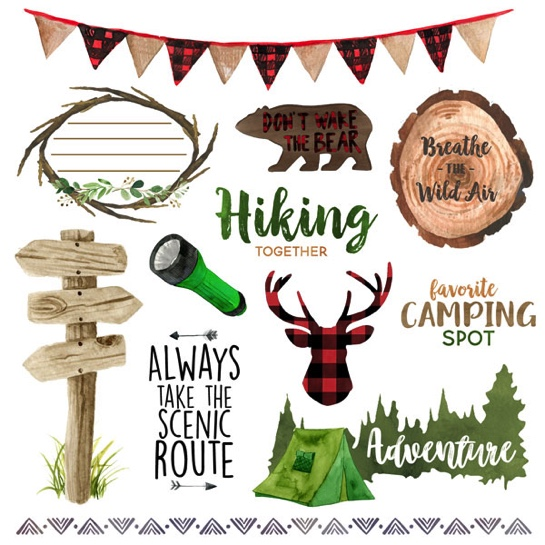 Camping Things 2 Cut Out 12x12 Scrapbooking Paper