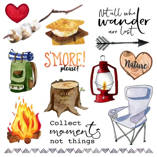 Camping Things 1 Cut Out 12x12 Scrapbooking Paper