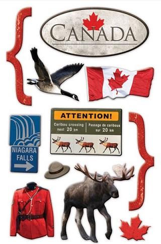 Canada 3D Glitter Scrapbooking Stickers