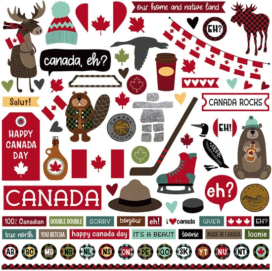 Canada 12x12 Cardstock Scrapbooking Stickers