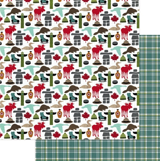 Canada Icons Double Sided 12x12 Scrapbooking Paper