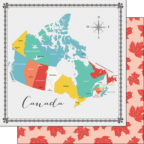 Canada Memories Map 12x12 Double Sided Scrapbooking Paper