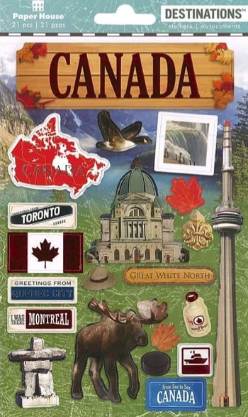 Canada 3D Destinations Scrapbooking Stickers