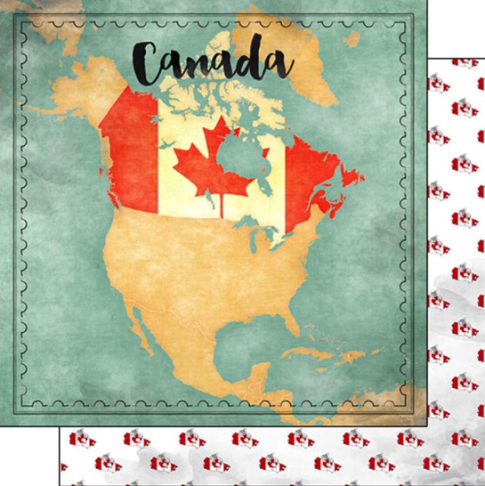 Canada Sights Map 12x12 Double Sided Scrapbooking Paper