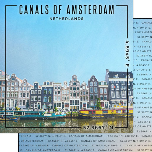Canals of Amsterdam 12x12 Double Sided Scrapbooking Paper