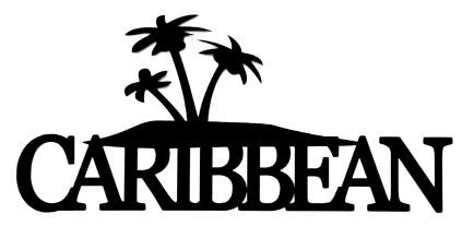 Caribbean Scrapbooking Laser Cut Title with palms