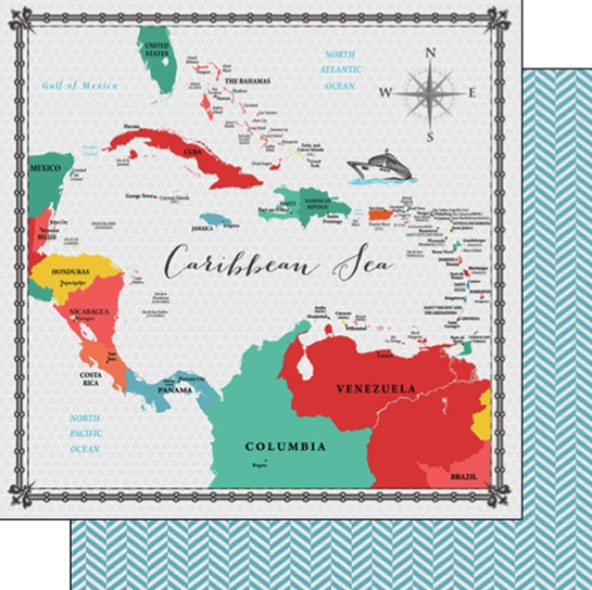 Caribbean Sea Memories Map 12x12 Double Sided Scrapbooking Paper