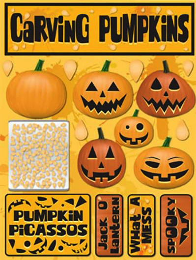Carving Pumpkins 3D Scrapbooking Stickers