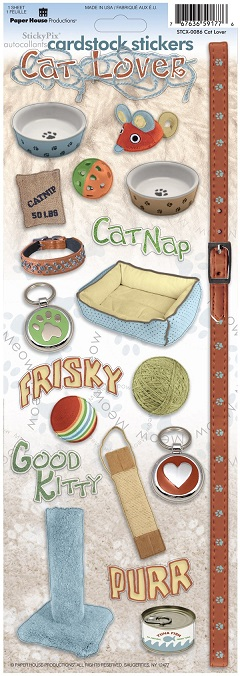 Cat Lover Cardstock Scrapbooking Stickers