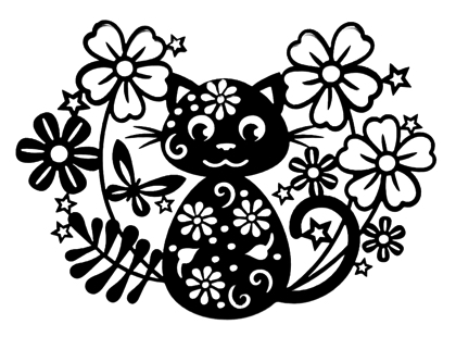 Cat in the Flowers Intricate Scrapbooking Laser Cut