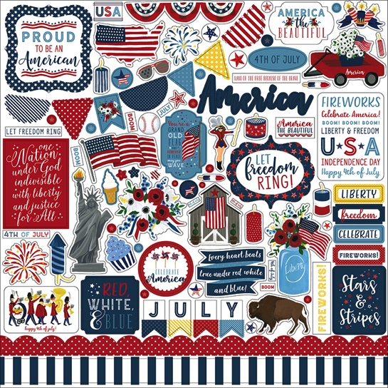 Celebrate America 12x12 Cardstock Scrapbooking Stickers and Borders