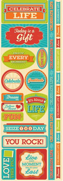 Celebrate Life Cardstock Scrapbooking Stickers and Borders