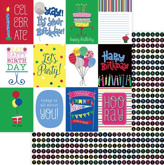 Birthday Celebrate Double Sided 12x12 Scrapbooking Paper