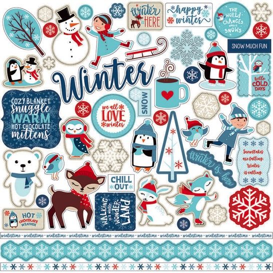 Celebrate Winter 12x12 Cardstock Scrapbooking Stickers and Borders