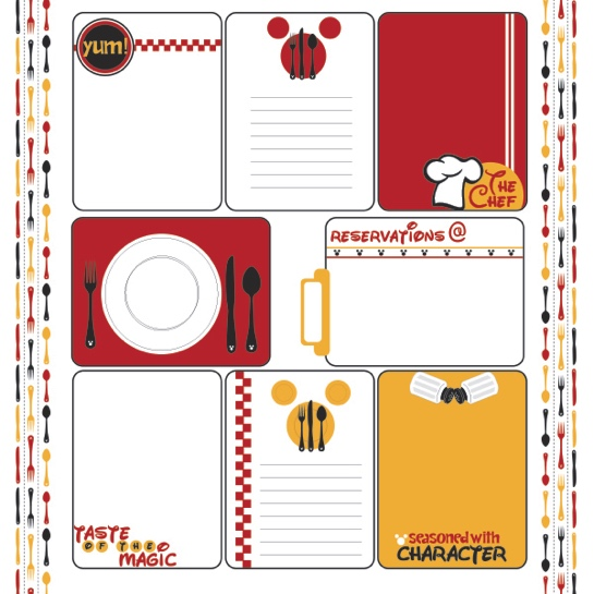 Disney Character Dining 12x12 Scrapbooking Journaling Paper