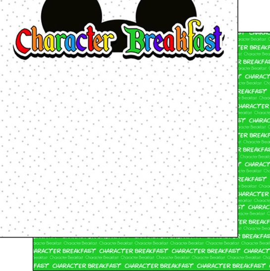 Character Breakfast 12x12 Double Sided Scrapbooking Paper