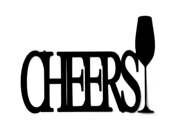 Cheers Scrapbooking Laser Cut Title with Champagne Flute