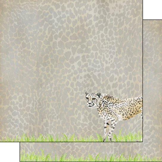 Cheetah Safari 12x12 Double Sided Scrapbooking Paper