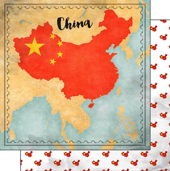 China Sights Map 12x12 Double Sided Scrapbooking Paper